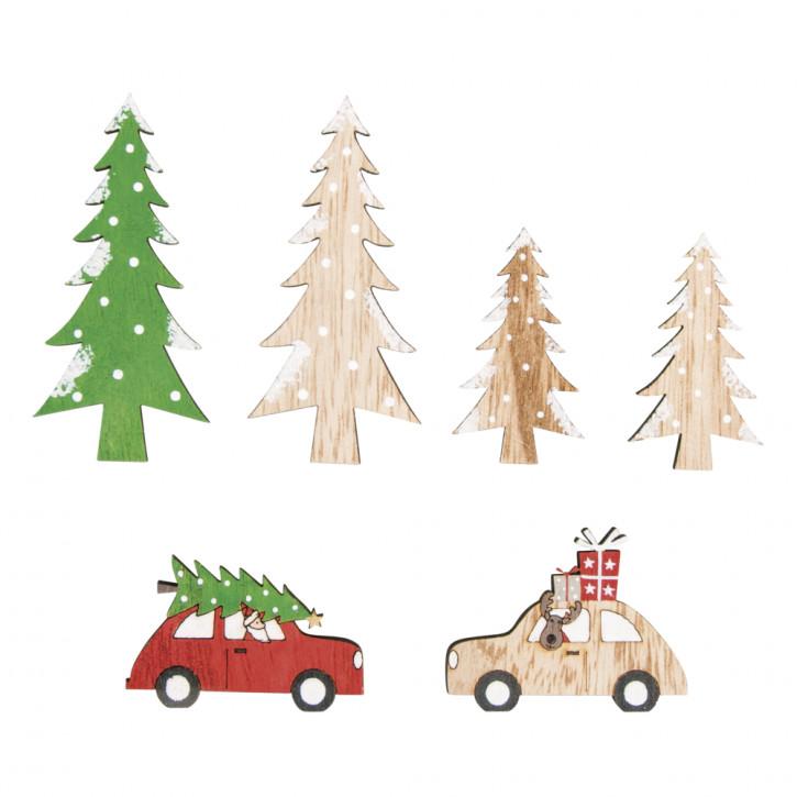 Holz Streudeko Christmas is coming Holz Streudeko Christmas is coming, 5-8cm,sortiert,4mm Stärke, SB-Btl 6Stück