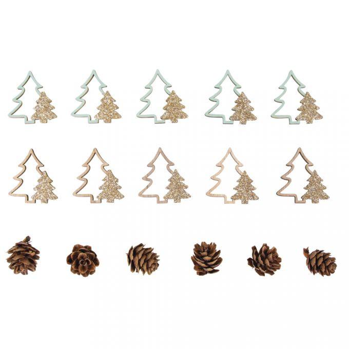 Holz Streuteile Mix Tannenbäume+Zapfen 2-4cm sort., Box 16Stück