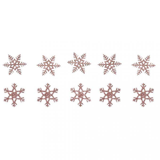 Holz Streuteile Schneeflocken, 3,5cm ø 2 Designs, SB-Btl 10Stück, rosé