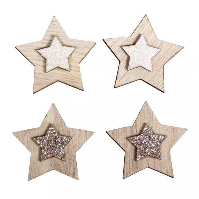 Holz Streuteile Sterne, 3cm ø sort. m. Klebepunkt, SB-Btl 10Stück