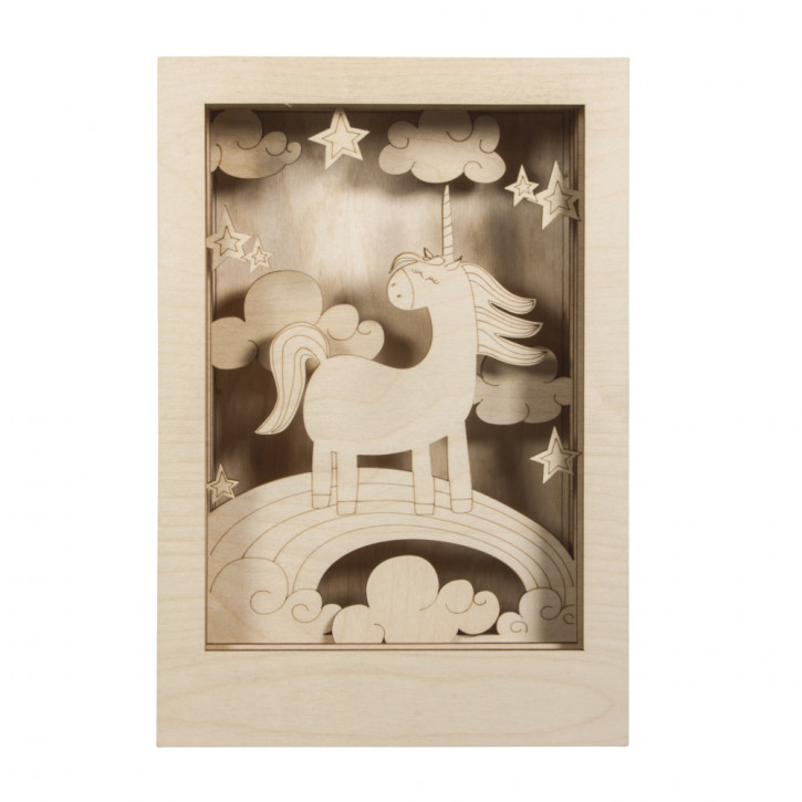 Holzbaus. 3D-Motivr. Einhorn, FSC 100% 20x30x6,5cm, 13-tlg. , Box 1Set, natur