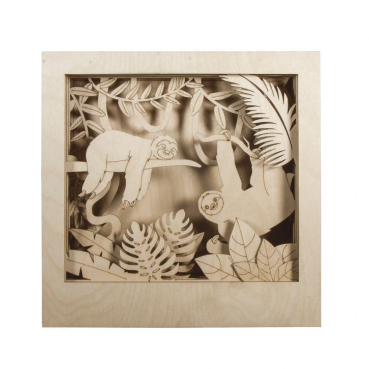 Holzbaus. 3D-Motivr. Faultier, FSC 100% 24x24x6,5cm, 11-tlg. , Box 1Set, natur