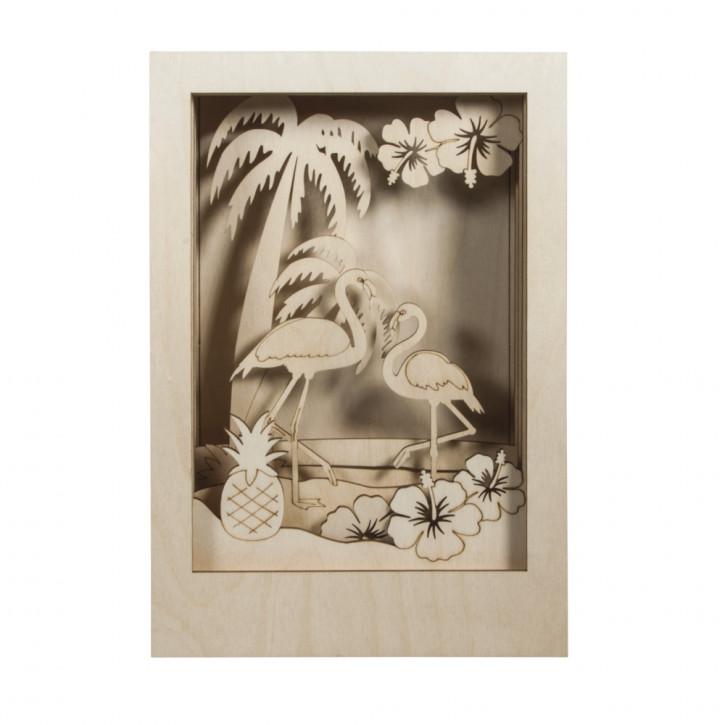 Holzbaus. 3D-Motivr. Flamingo, FSC 100% 20x30x6,7cm, 10-tlg. , Box 1Set, natur