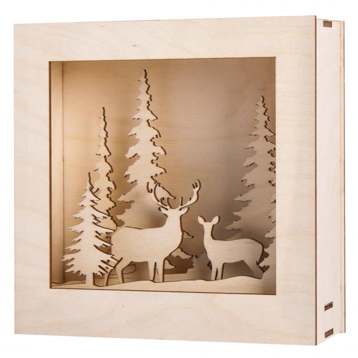 Holzbaus. 3D-Motivr.,Winterland, FSC100% 20x20x6,6cm, 14-tlg., 1Set