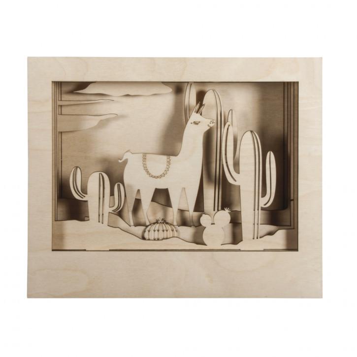 Holzbaus. 3D-Motivrahmen Lama, FSC 100% 24x20x6,9cm, 10-tlg. , Box 1Set, natur