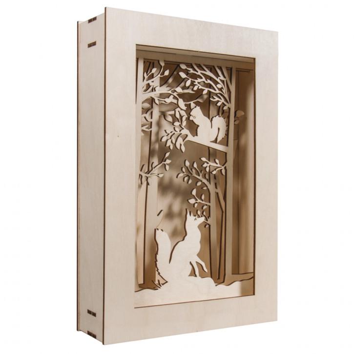 Holzbausatz 3D-Motivrahmen, Wald,FSC100% 20x30x6,6cm, 15-tlg. , 1Set