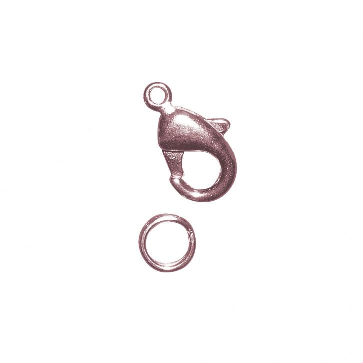 Karabiner-Schließe m. Ring, rosé 9,5mm, SB-Btl 2Stück