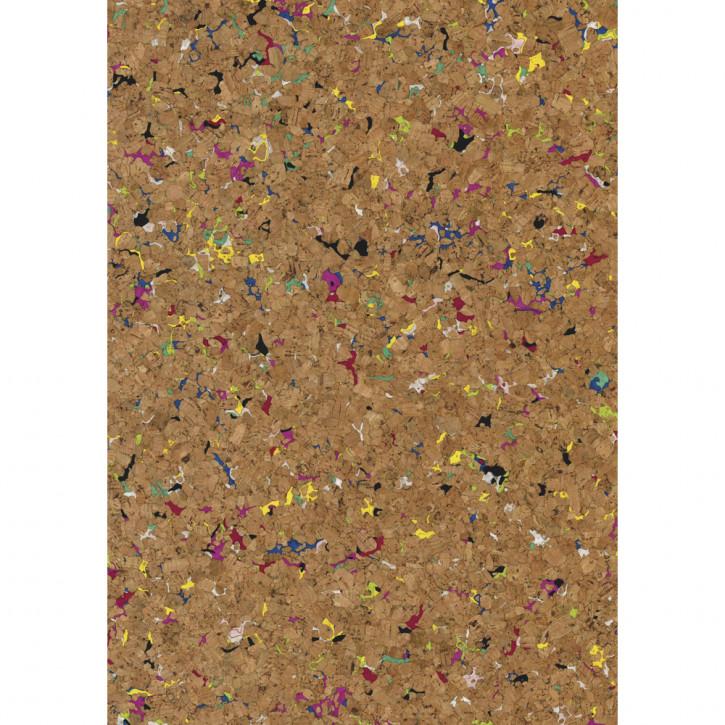 Korkstoff Granulat gerollt 45x30cm, nat./bunt, 0,5 mm , Box 1Rolle
