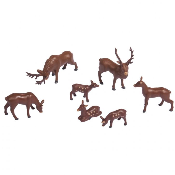 Kunststoff-Miniaturen Hirsche sortiert, ca. 1,5-3cm, SB-Blister 7Stück