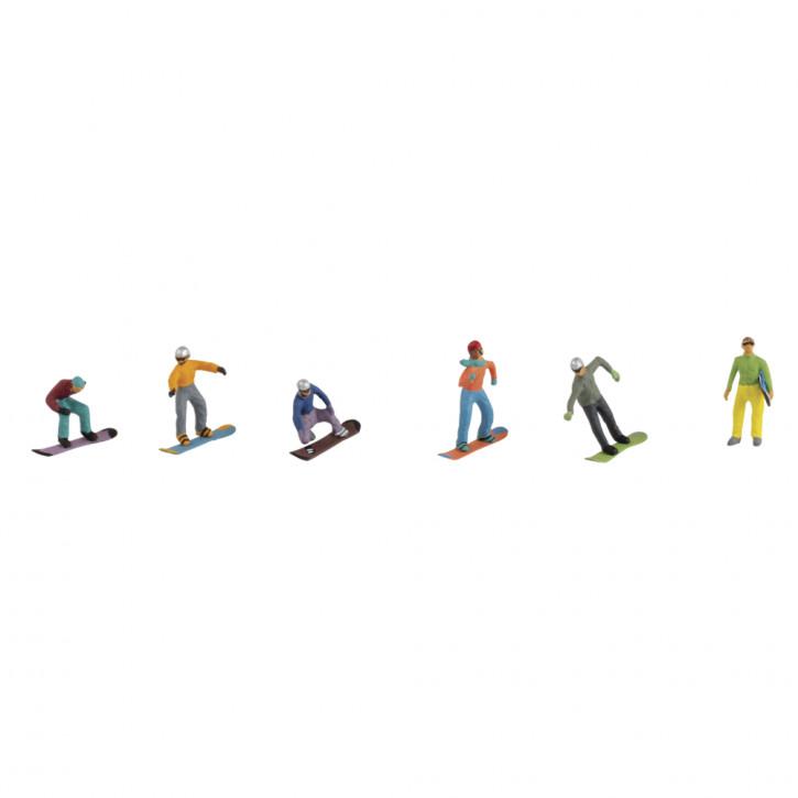 Kunststoff-Miniaturen Snowboarder sortiert, ca. 1,5-2cm, SB-Blister 6Stück