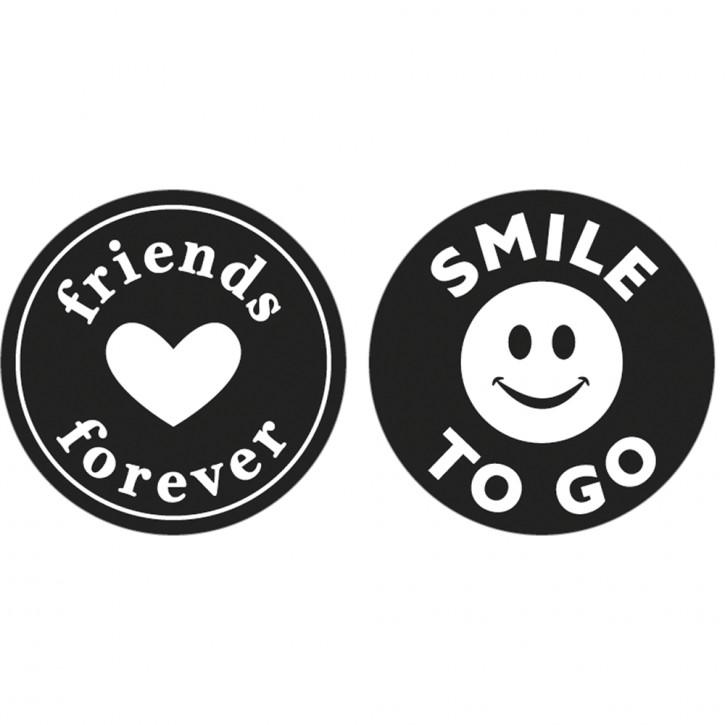 Label friends..., Smile, 30mm ø, SB-Btl 2Stück