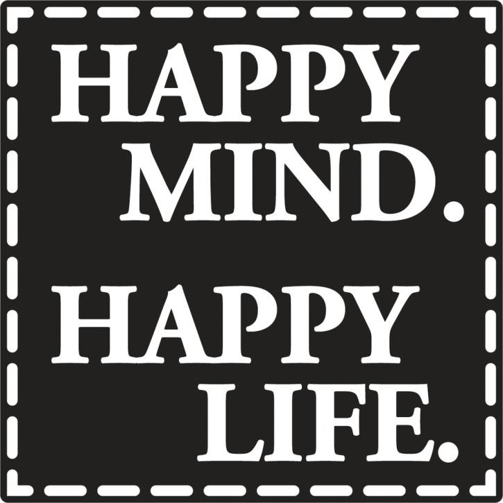 Label Happy Mind Happy Life, 50x50mm, SB-Btl 1Stück