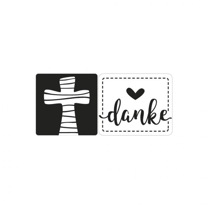 Label Kreuz & Danke, 23x23mm ø, 28x24mm ø, SB-Btl 2Stück