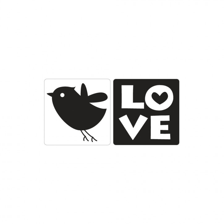 Label Love & Vogel, 25x30mm, SB-Btl 2Stück