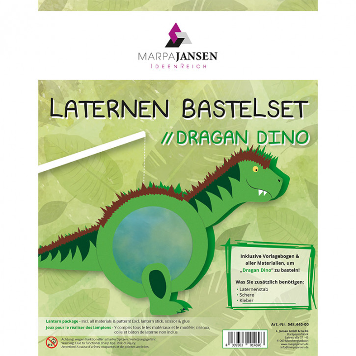 Laternen Bastelset, Dragan Dino 22 cm Ø, 1 Set