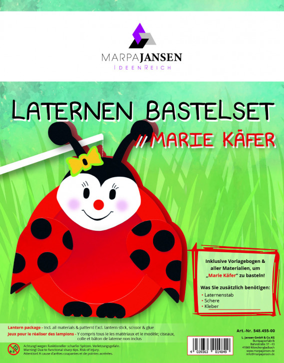 Laternen Bastelset, Marie Käfer 22 cm Ø, 1 Set