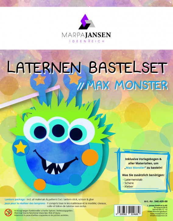 Laternen Bastelset, Max Monster 22 cm Ø, 1 Set