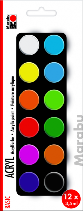 Marabu Acrylfarben Set BASIC 12x3,5ml