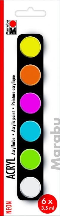 Marabu Acrylfarben Set Neon 6x3,5ml