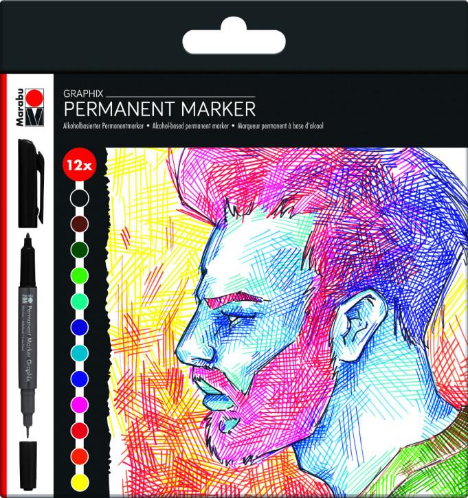 Marabu Permanent Marker Graphix 12er-Sortierung