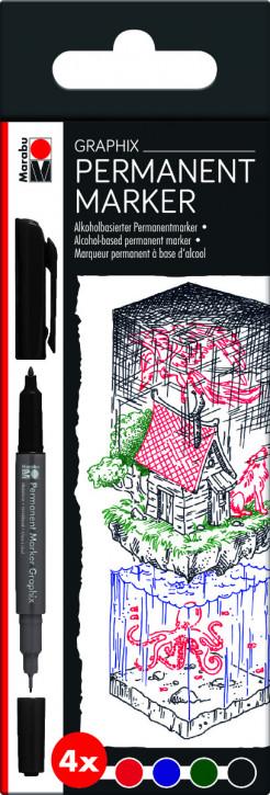 Marabu Permanent Marker Graphix 4er-Sortierung