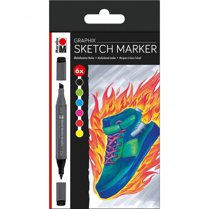 Marabu Sketch Marker Graphix 6er-Sortierung HEAT