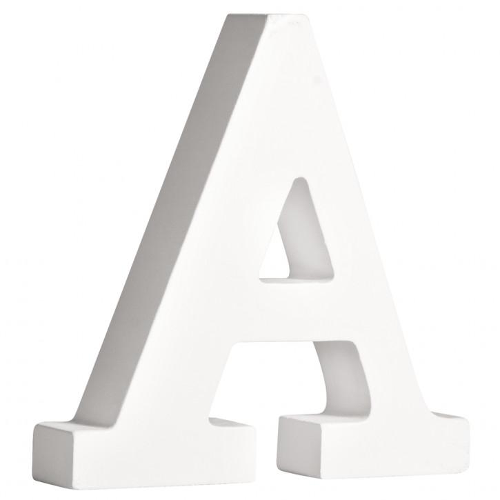 MDF- Buchstabe A, weiß, 11cm, Stärke 2cm