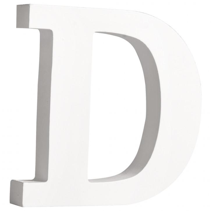 MDF- Buchstabe D, weiß, 11cm, Stärke 2cm