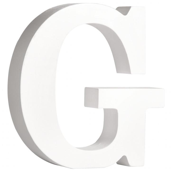 MDF- Buchstabe G, weiß, 11cm, Stärke 2cm