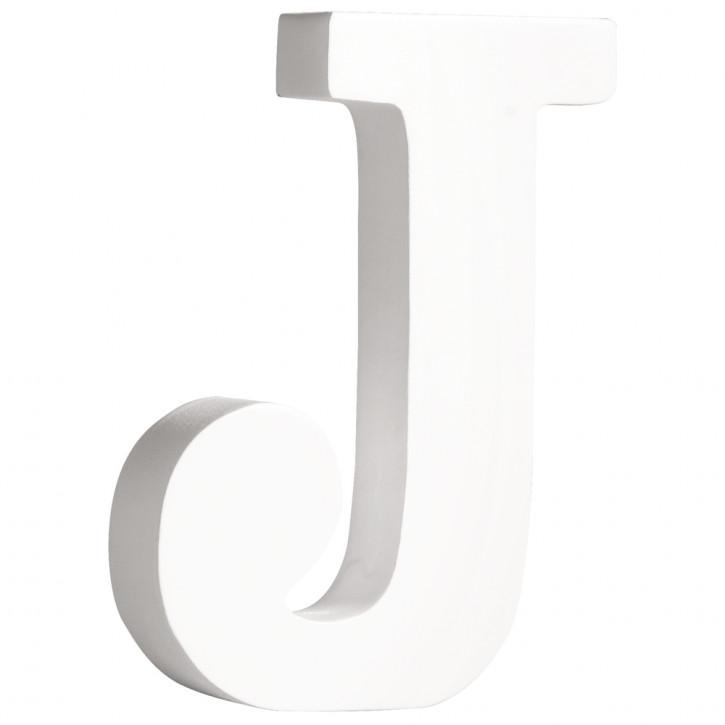 MDF- Buchstabe J, weiß, 11cm, Stärke 2cm