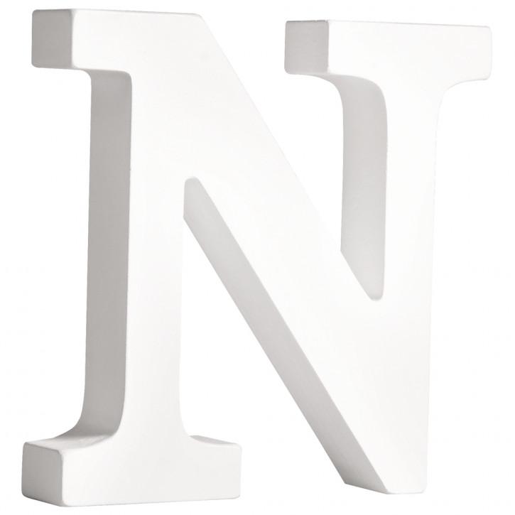 MDF- Buchstabe N, weiß, 11cm, Stärke 2cm