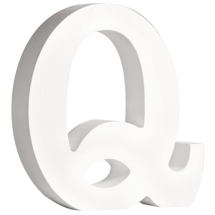 MDF- Buchstabe Q, weiß, 11cm, Stärke 2cm