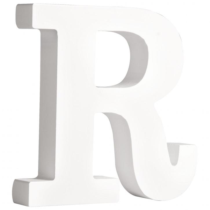MDF- Buchstabe R, weiß, 11cm, Stärke 2cm