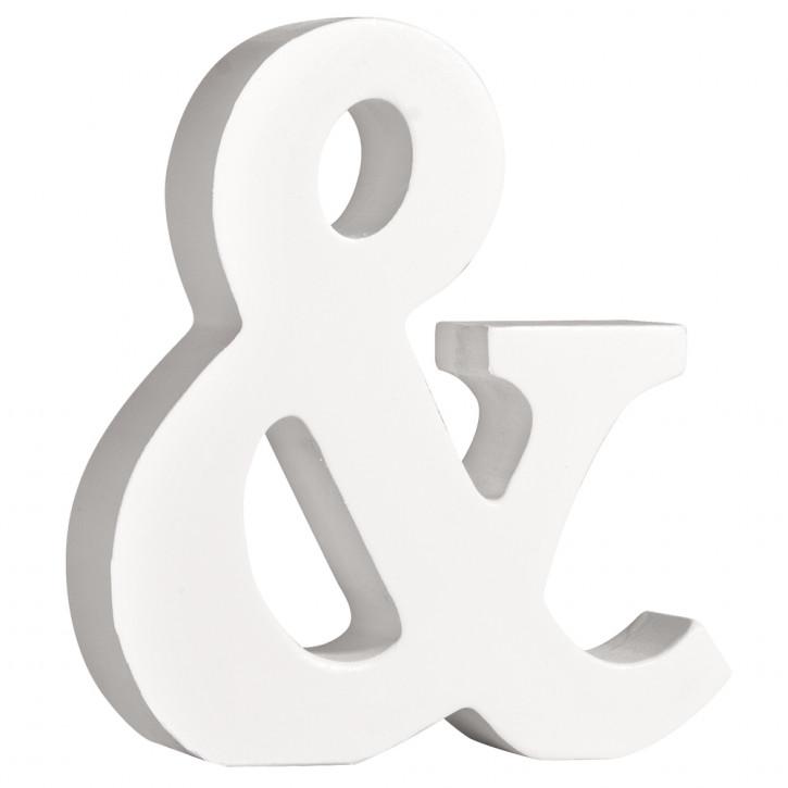 MDF- Buchstabe &, weiß, 11cm, Stärke 2cm