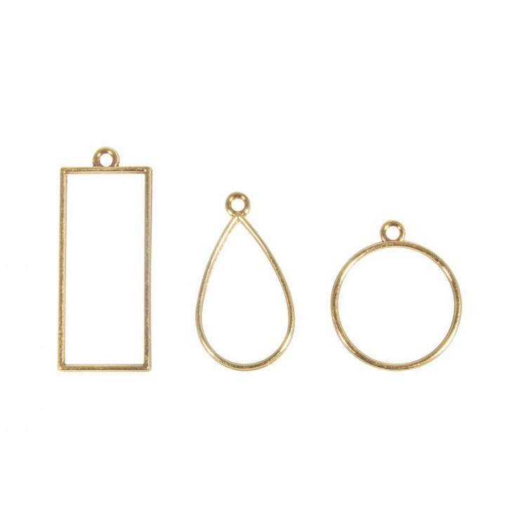 Metall- Fassung: Anhänger Rechteck, Tropfen&Rund, SB-Btl 3Stück, Gold