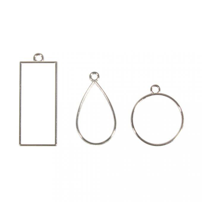 Metall- Fassung: Anhänger Rechteck, Tropfen&Rund, SB-Btl 3Stück, Silber