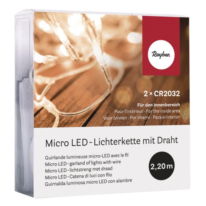 Micro LED-Lichterkette mit Draht 220cm, 20 Lichter, SB-Box 1Stück