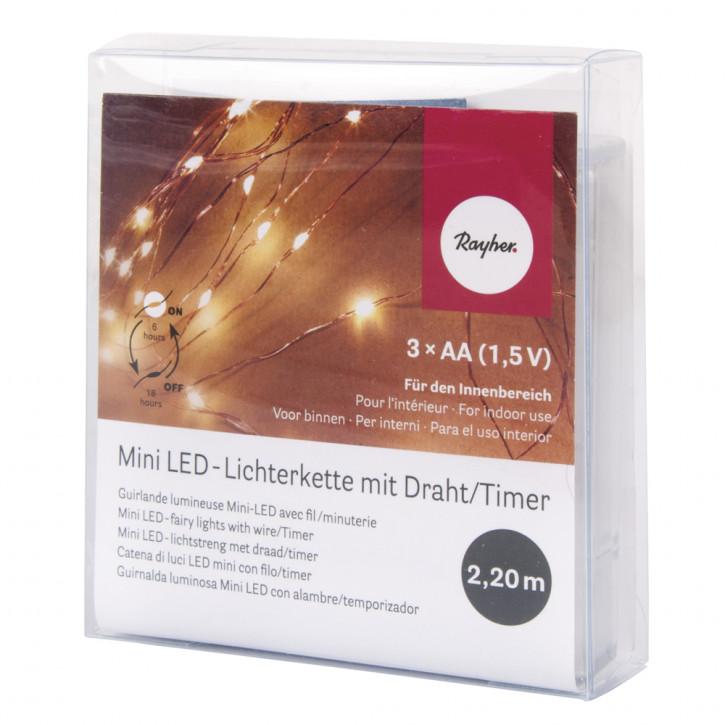 Mini LED-Lichterkette m. Draht 130cm, 10 Lichter, Batteriebetrieb