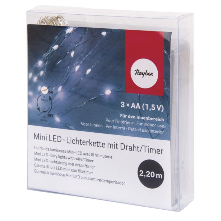 Mini LED-Lichterkette m. Draht/Timer 220cm, 20 LED's,Batteriebetrieb