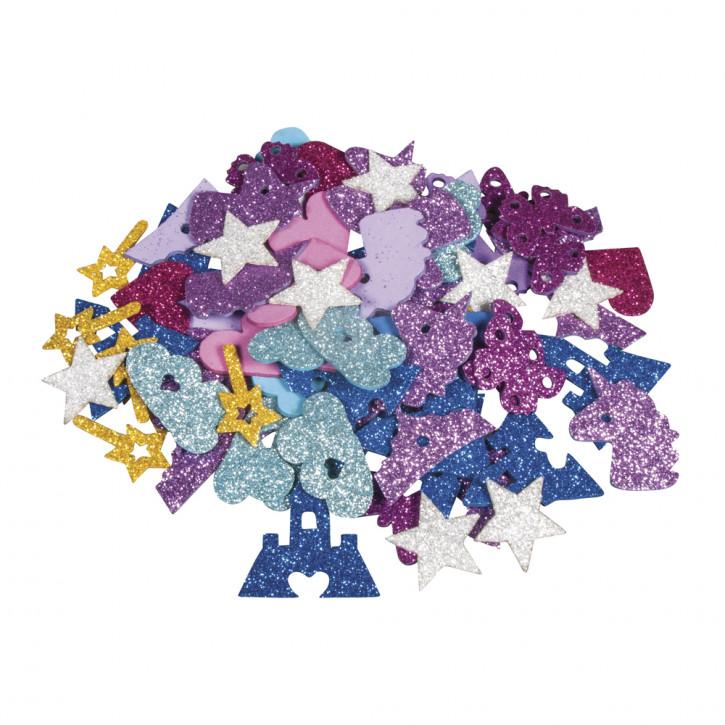 Moosgummi Märchen Mix Glitter 3-4cm, selbstklebend, SB-Btl 80Stück