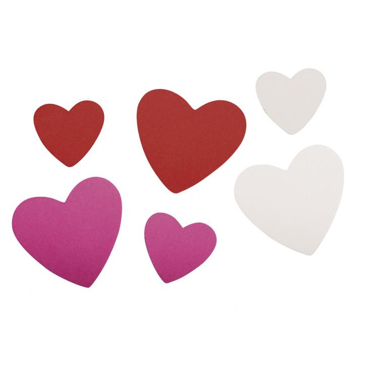 Moosgummi Stanzteile Herzen 2,8-4,2cm,selbstklebend, SB-Btl 100 Stück, bunt