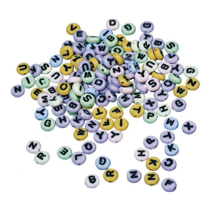 Plastik-Buchstaben-Perlen rund, 6mm ø SB-Blister 40g, gemischt