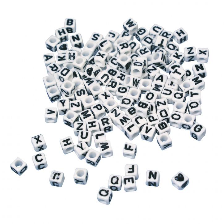 Plastik-Buchstaben-Perlen Würfel 5x5 mm, Blisterkarte 40g, weiß