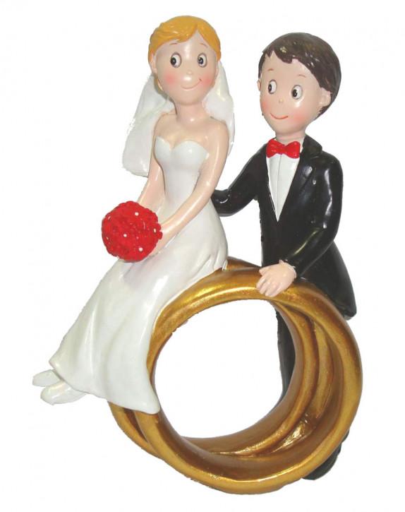 Polyresinfigur Hochzeitspaar auf Ringen 16x12 cm