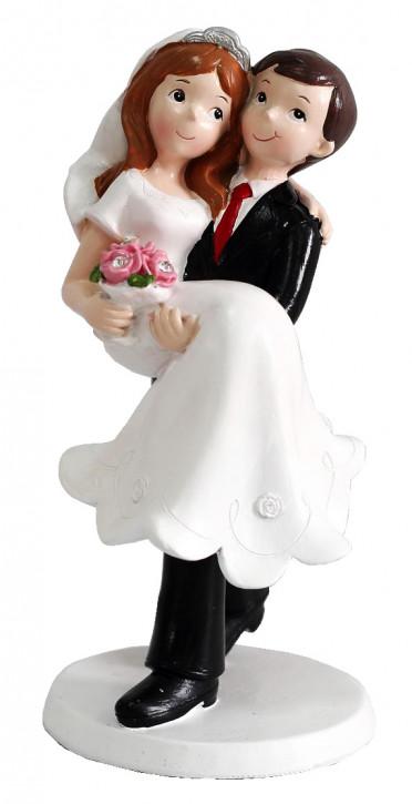 Polyresinfigur Hochzeitspaar Bräutigam trägt Braut 17 cm
