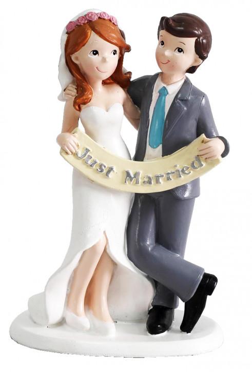 """Polyresinfigur Hochzeitspaar mit """"Just Married"""" 17x10 cm"""