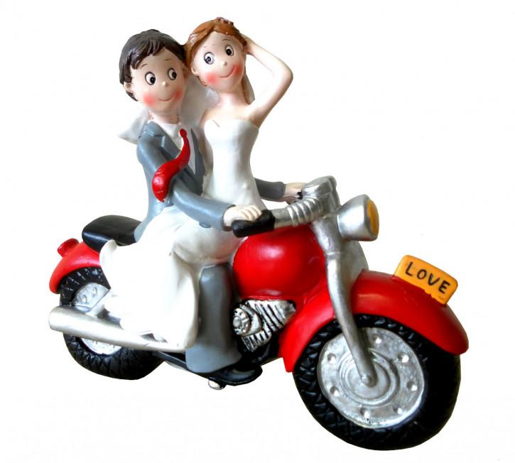 Polyresinfigur Hochzeitspaar mit Motorrad 16x20 cm