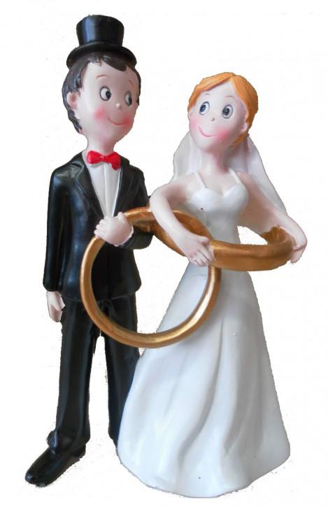 Polyresinfigur Hochzeitspaar mit Ringen 16 cm