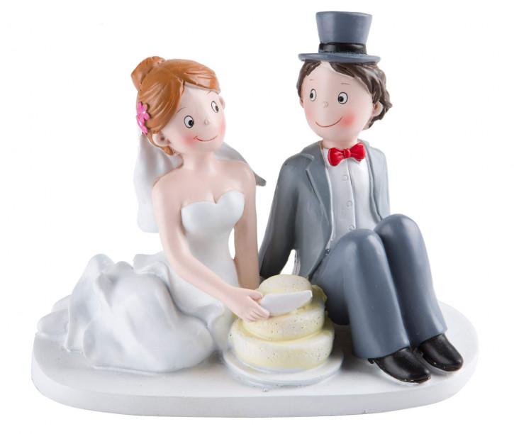 Polyresinfigur Hochzeitspaar Torte 12x16 cm