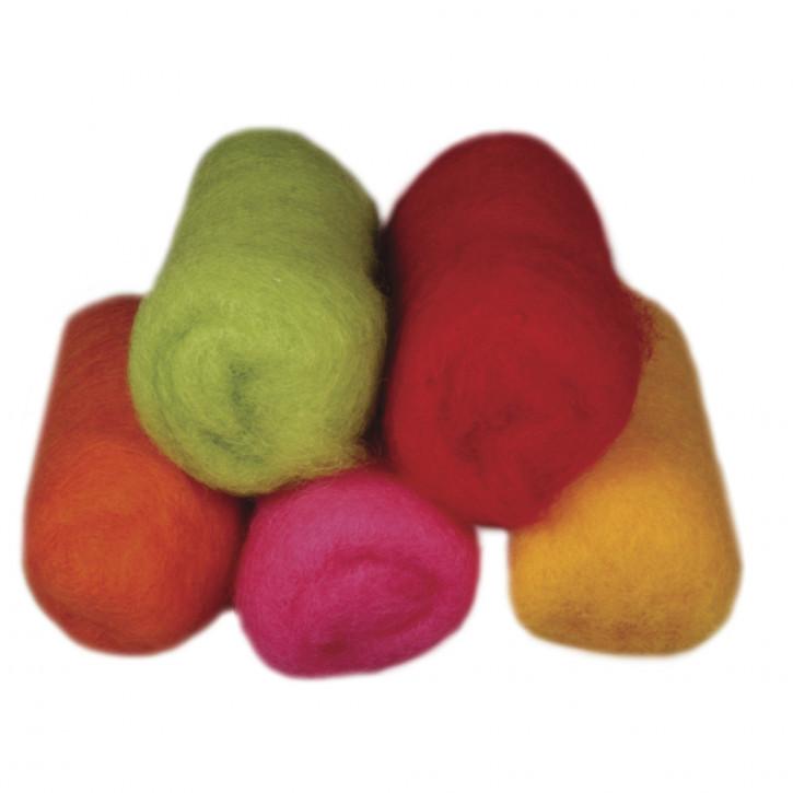 Reine Schurwolle Vlies, 5 Farben à 20g, Sommermix kräftige Töne